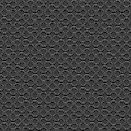 curved lines: Black 3D Curved geometric simple seamless pattern. Vector background