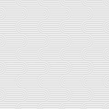 White 3d curved stripes geometric seamless pattern. Structured wallpaper for design.  Vector background Illustration