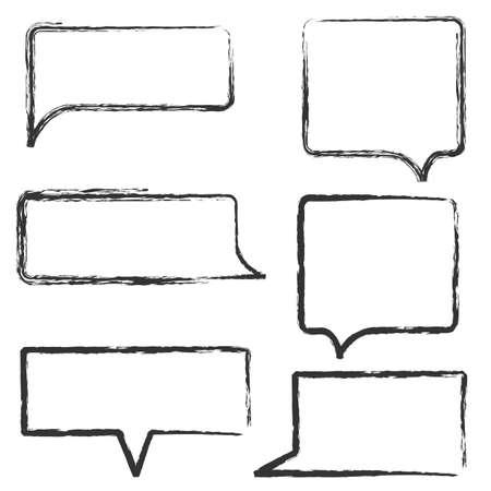 talk balloon: Set of Hand Draw Speech Bubbles. Vector design elements Illustration