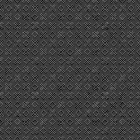 square frame: Checkered 3D Black Seamless Pattern with cross and rhombus.Geometric Wallpaper. Vector Background