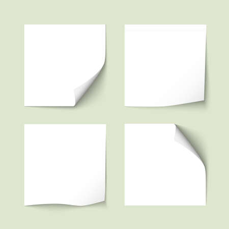 Set of white sticky notes with shadows. Paper stickers, note post memo, labels. Vector design elements Imagens - 60998454