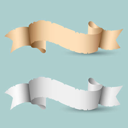 vintage paper: Two Vintage paper Ribbon Banners with shadow. Retro Label used as copy space isolated on background. Vector elements for design Illustration