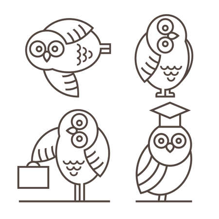 law library: Set of Owl icons isolated on white. Owl emblem or label. Vector design elements