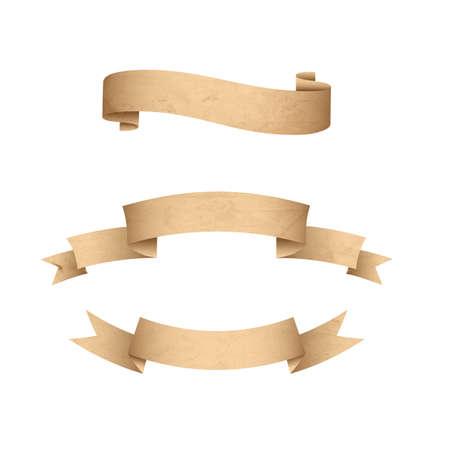 Weinleseschmutzpapier-Fahnenbänder lokalisiert auf weißem Hintergrund. Altes Papier der Beschaffenheit. Vektorsatz Retro- Aufkleber