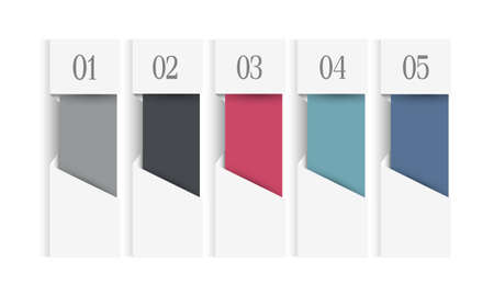vertical dividers: White infographics web design template with colored vertical banners. Paper origami numbered design elements. Vector set Illustration