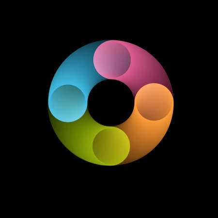Abstract rounded shape in blue,pink, orange,green colors. Web icon,symbol or creative logo concept. Vector design template element for your application or corporate identity