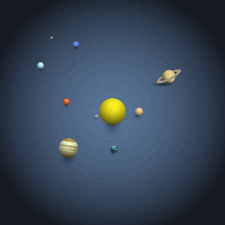 Solar system - 3d Planets on orbits. Collection Planet icons. Vector realistic illustration