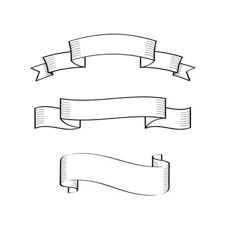 Set di vecchie bandiere del nastro dell'annata. Elementi di design in stile disegnato a mano. Illustrazione vettoriale