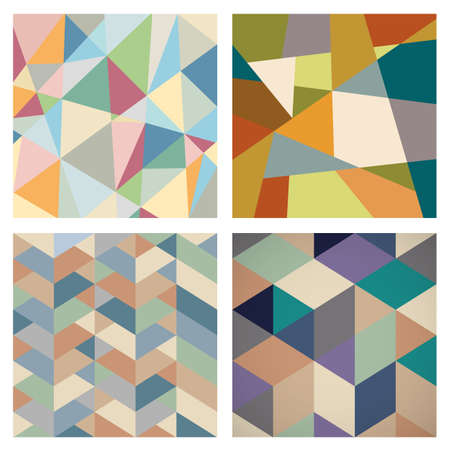 retro backgrounds: Four Retro Geometric backgrounds for design. Vector set