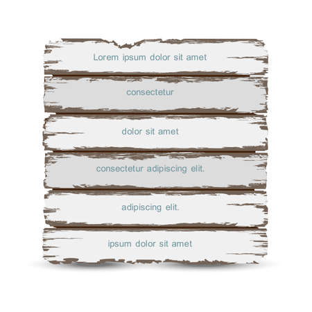 rusty: Old wooden horizontal planks with place for text,Creative design grunge wood texture. Vector illustration Illustration