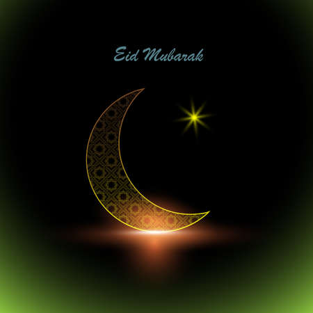 Shiny gold crescent moon decorated with traditional islamic ornament with star. Greeting card template for muslim community festival Eid Mubarak celebrations.