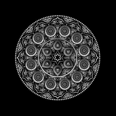 Metallic-Runde Ornament-Muster auf schwarzem - Arabisch, islamisch, Ost-Stil. Vektor-Illustration für Grußkarte, Postkarte, Einladung, Poster, Banner usw. Oriental dekoratives Element