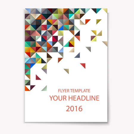 magazine cover: Modern  vector cover template with colorful mosaic - A4 size  Geometric design creative concept cover for Leaflet,magazine,flyer,catalog, report, brochure. Abstract presentation