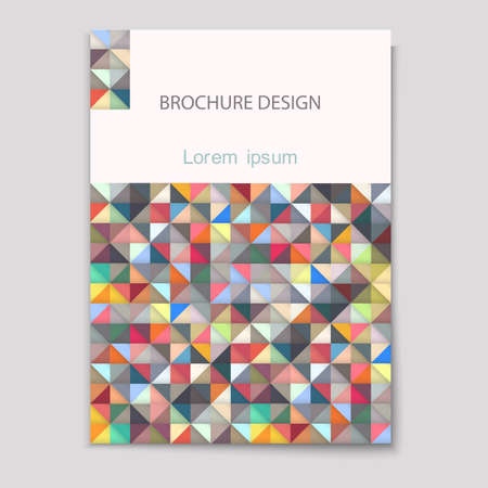 magazine cover: Modern brochure cover template with colorful mosaic - A4 size  Geometric design creative concept cover for Leaflet,magazine,flyer,catalog, report, brochure. Abstract presentation in Vector format Illustration