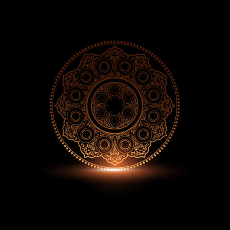 Mystical Round Ornament Pattern with light. Arabic, Islamic, East style. Vector illustration for greeting card, postcard, invitation, poster, banner etc. Oriental decorative element