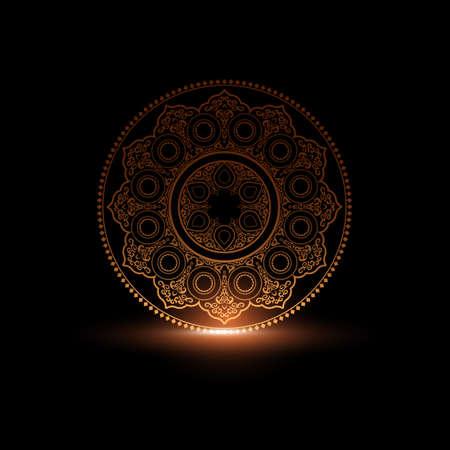 indische muster: Mystische Runde Ornament-Muster mit Licht. Arabisch, islamische, Ost-Stil. Vektor-Illustration für Grußkarte, Postkarte, Einladung, Poster, Banner usw. Oriental dekoratives Element