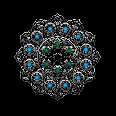 green gemstones: Silver Round Ornament Pattern with Blue and Green gemstones - Arabic, Islamic, East style. Vector illustration for greeting card, postcard, invitation, poster, banner etc. Oriental decorative element Illustration