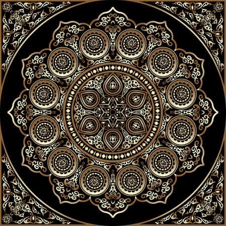 Modelo de madera alrededor del ornamento 3D - estilo árabe, islámica, del este. ilustración vectorial de tarjeta de felicitación, tarjetas postales, invitaciones, carteles, etc. bandera elemento decorativo oriental