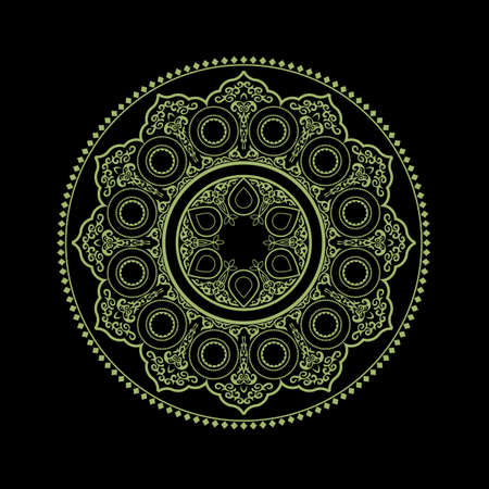 Ethnic Delicate Mandala on black - Round Ornament Pattern. Vector illustration for greeting card, postcard, invitation, poster, banner etc. Oriental decorative element