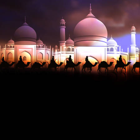 Ramadan Kareem greeting card with  Arabic mosque and camels. Editable Vector illustration for islamic background