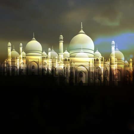 Tarjeta de felicitación de Ramadan Kareem con la mezquita islámica y el cielo nublado. Ilustración vectorial editable