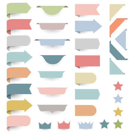 webpage: Set of web design elements - corners, banners, ribbons, stars,labels in pastel-retro colors. Vector collection