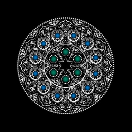 blue green: Silver 3D Round Ornament Pattern with Blue and Green gemstones - Arabic, Islamic, East style. Vector illustration for greeting card, postcard, invitation, poster, banner etc. Oriental decorative element