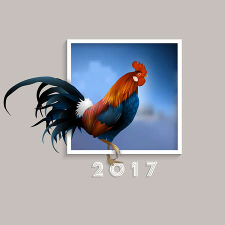 Rooster - symbol of 2017 with blurred blue background in frame. Chinese Zodiac Sign.  Creative Graphic element for New Years design. Vector illustration Illustration