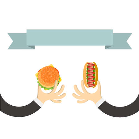 Hands with hamburger and with hot dog in cartoon style and banner for text. Vector illustration