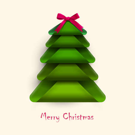 creative green christmas tree with red bow design for new year card vector illustration