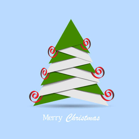 christmas poster: Christmas tree made from pieces of paper. Origami style. Vector New Year card