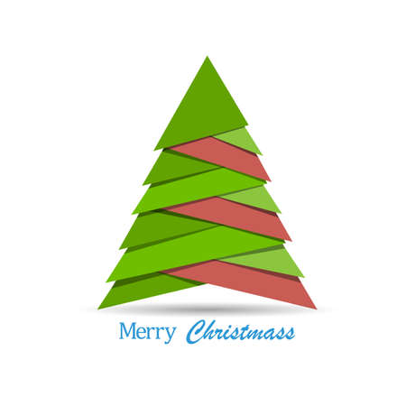 tree design: Creative Christmas tree made from pieces of paper. Origami style. Vector New Year card