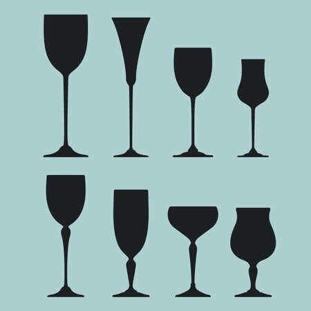Collection of Wine glass black silhouettes. Vector icon set