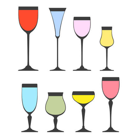 sauternes: Collection of Wine glass silhouettes on white background. Vector icon set