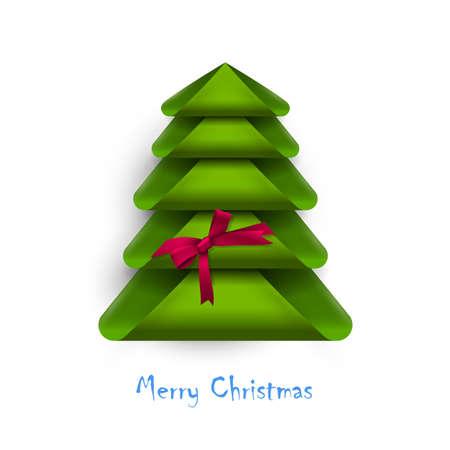 Arbre de Noël créatif avec un arc rouge. Conception pour la carte de nouvel an. Illustration vectorielle