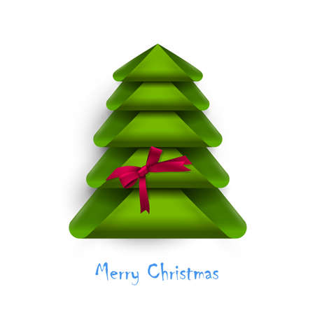 Creative Christmas tree with red bow. Design for New Year card. Vector Illustration