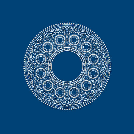 Ethnic Delicate White round Mandala on blue. Vector illustration for greeting card, postcard, invitation, poster, banner etc. Oriental decorative element Illustration