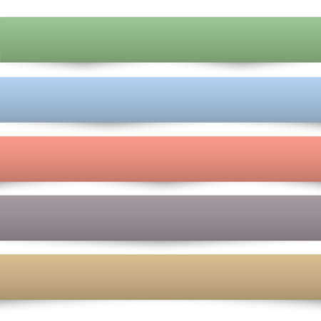 Collection of colored paper banners. Design templates. Paper separators, dividers. Vector set