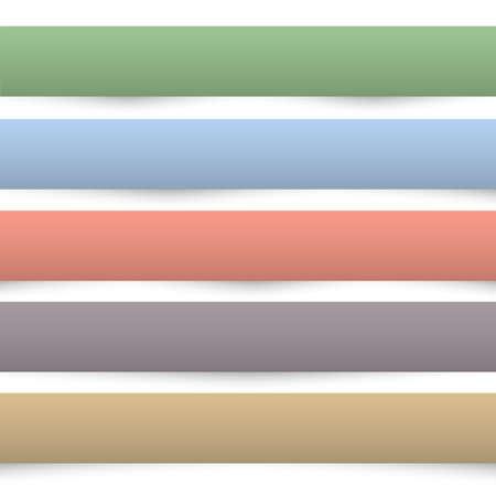 separators: Collection of colored paper banners. Design templates. Paper separators, dividers. Vector set