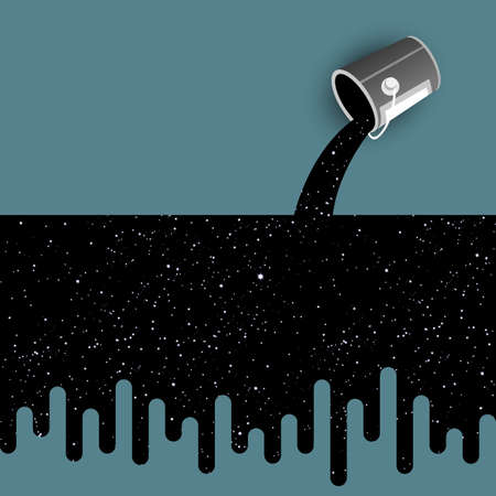 Spilled Paint pouring from bucket and Starry night sky. Concept vector illustration