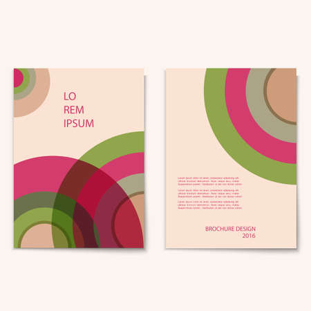 biege: Modern abstract brochure cover template with circles pattern  Modern design creative concept cover for flyer,catalog, report, brochure. Pink,green,biege colors vector background Illustration