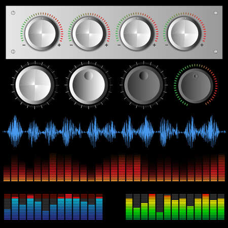 digital music: Set of color sound waves digital music waves and software buttons . Audio equalizers, musical audio signal, music waves. Vector collection