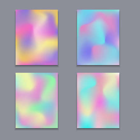 poster backgrounds: Hologram bright colorful backgrounds set. Vector mesh template.  Design for greeting card, report, cover, book, print,poster,brochure,magazine Illustration