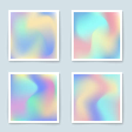 poster backgrounds: Hologram colorful backgrounds set in pastel colors. Vector mesh template.  Design for greeting card, report, cover, book, print,poster,brochure,magazine