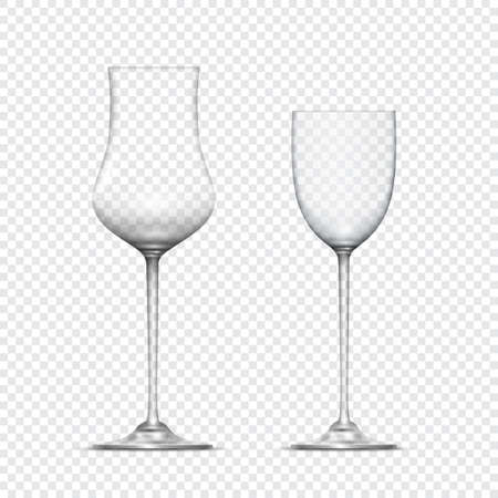 empty the bowl: Two transparent realistic empty glasses goblets. Vector icon Illustration