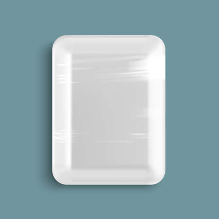 rectangular: White empty wrapped plastic food tray container.