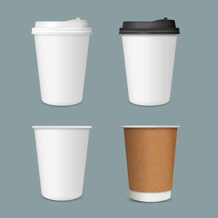 3D serie realistica di tazze di caffè in carta. Mockup di tazza di caffè di carta. Modello vettoriale