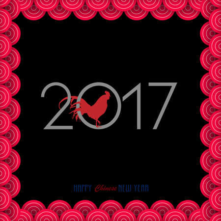 asian art: New Year card with Chinese waves and Red Rooster - symbol of 2017. Vector illustration