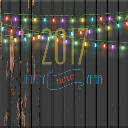 holiday garland: Christmas garland lights on old wooden background. Vector illustration for design New Year and Christmas decorations. Xmas Holiday greeting card design