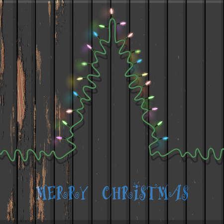 fire wire: Christmas tree formed garland lights on old wooden background. Vector illustration for design New Year and Christmas